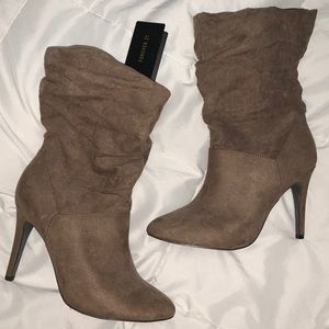 Taupe Faux Suede Heeled Booties